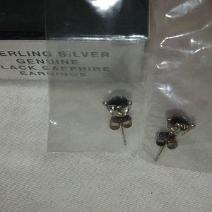 Sterling Silver Genuine Black Sapphire Earrings